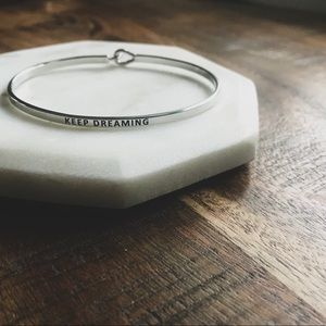 Silver Keep Dreaming Inspirational Quote Bangle